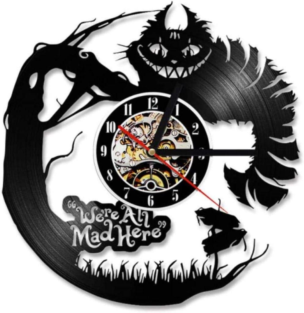 xfshey Reloj de Pared de Vinilo de Gato Malvado Reloj de Registro Reloj de Registro de Reciclaje Relojes Retro Vintage Lámpara Colgante silenciosa Reloj de Cuarzo Relojes de Pared Hechos a Mano