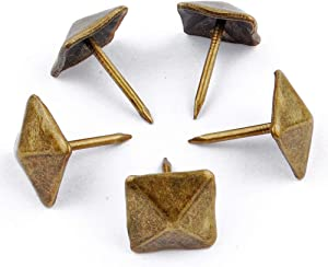 NW 100pcs Square Bronze Nail Bronze Upholstery Tacks Antique Brass Furniture Nails Pins (12x17mm)