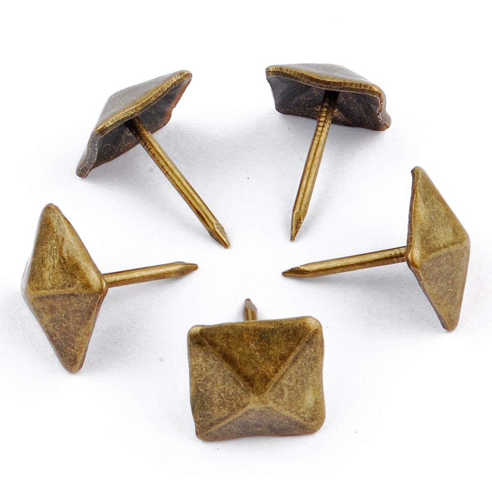 NW 100pcs Square Bronze Nail Bronze Upholstery Tacks Antique Brass Furniture Nails Pins 12x17mm