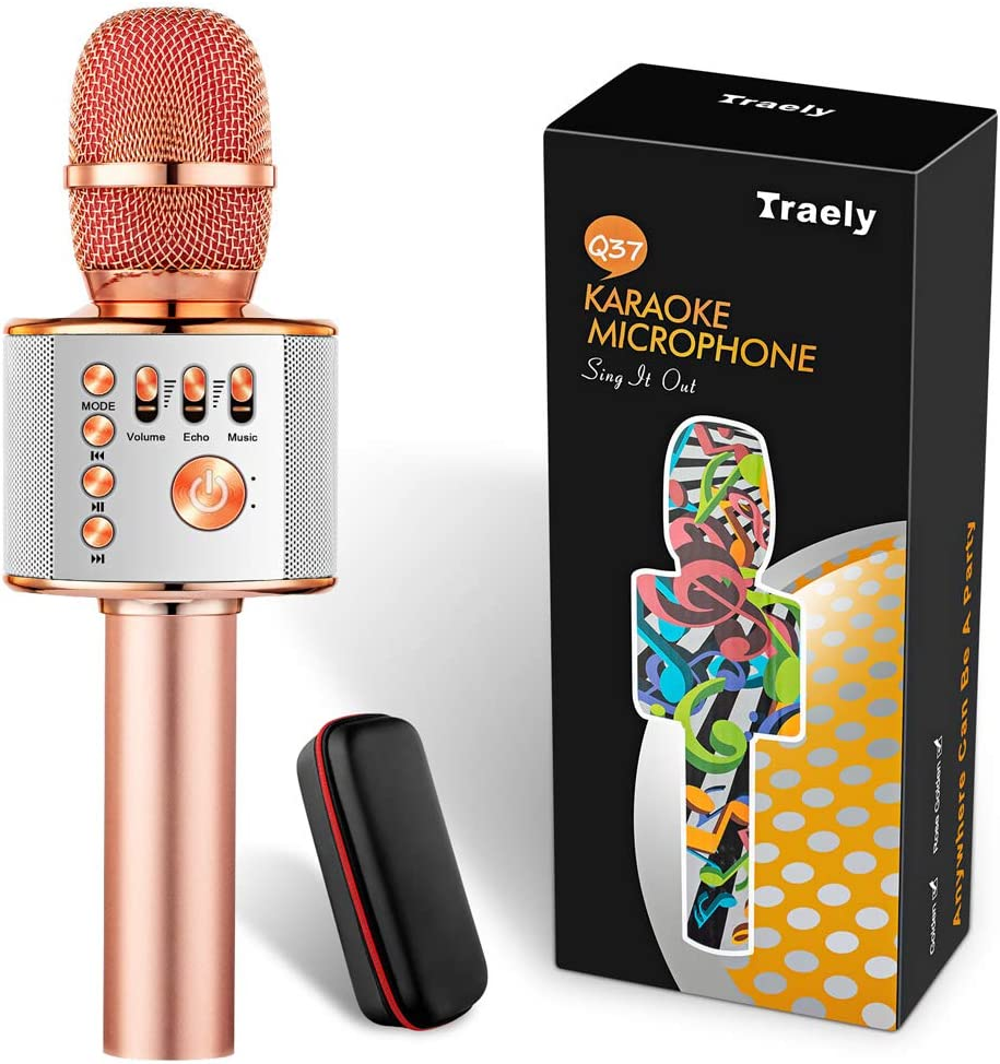 Toys for Girls Boys 5-12 Years Old Kids Karaoke Microphone Bluetooth Rechargeable Wireless Kids Microphones for Singing Christmas Birthday Gifts for Girls Age 5 6 7 8 9 10 Party(Rose Gold)