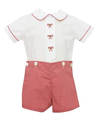 1b0e574eb Anavini Boys Candy Cane Gingham Bobby Suit Infant Toddler (3 Months)