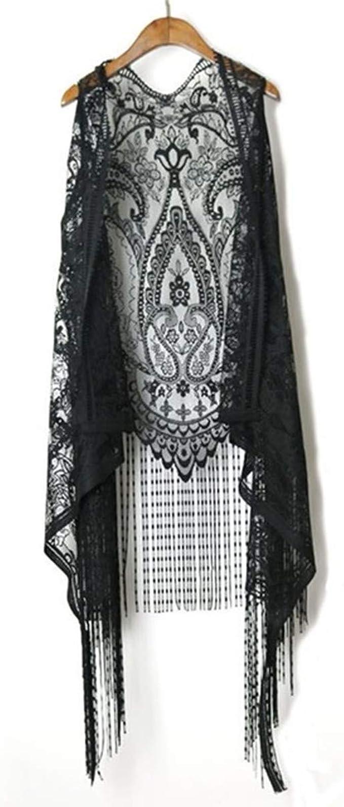 Hippie Dress | Long, Boho, Vintage, 70s Sexy Lace Cardigan Women Vest Casual Hollow Out Perspective Plus Size Irregular Long Beach Elegant Tops Waistcoat  AT vintagedancer.com