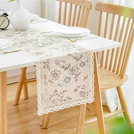 Amazon Com Farmhouse Dining Table Runner 72 Inches Lace Table Cloth Tablecover Linen Burlap Dresser Scarves Farmhouse Table Runners For Dining Room Home Kitchen Table Decor Kitchen Dining