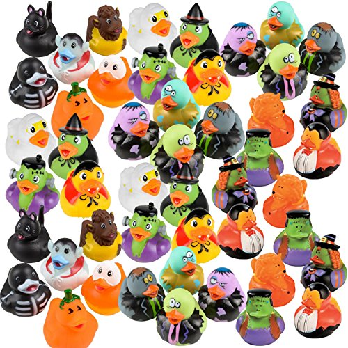 Halloween Rubber Duckies - Bulk Variety Pack Bundle of 48 Rubber Ducks - Zombies, Dracula, Werewolf, Frankenstein, Black Cat, Pumpkin, Ghost, Skeleton, Witch, Candy Corn (Rubber Duck Bulk)