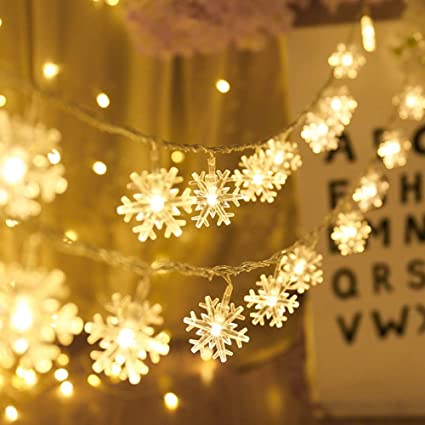 AODINI Snowflake String Lights 16 ft 40 LED Fairy Battery Operated Waterproof for Xmas Garden Amazon.com :