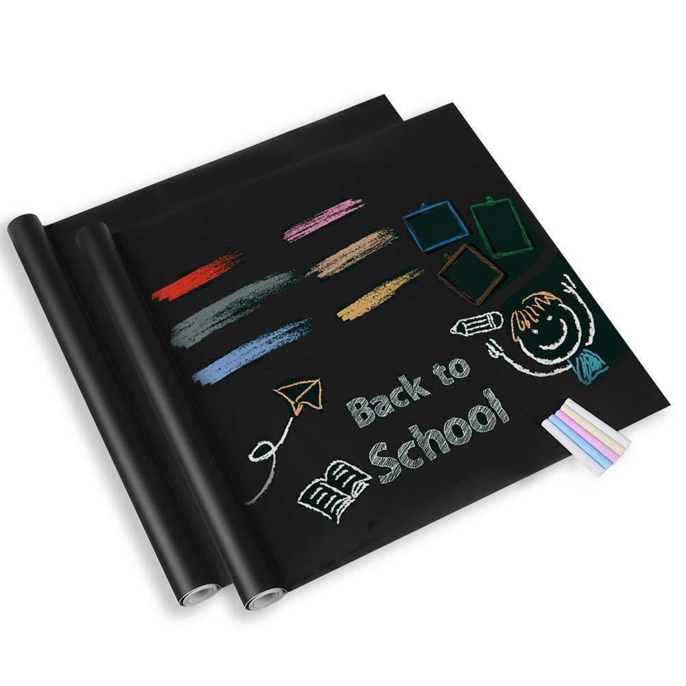 Lavagna Adesiva 2 Rotoli - Adesivo Lavagna da Parete Lavagna Nera Stickers Appunto Rimovibile per Scuola Ufficio Casa 44.5 x 200 CM con 10 Gessetti GLOBEGOU WZ CO. LTD