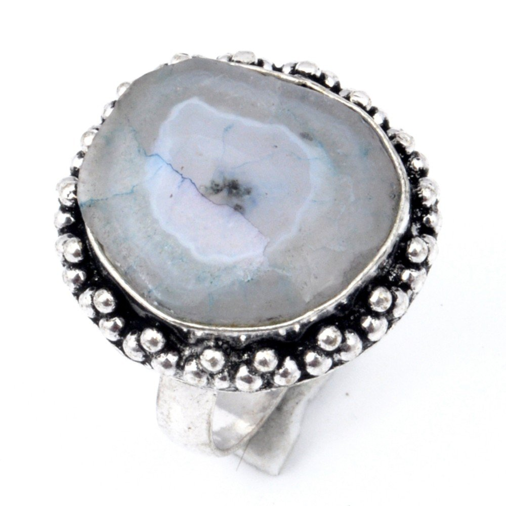 Handmade Jewelry Lowest Price White Slice Druzy Sterling Silver Overlay Ring Size 8.75 US