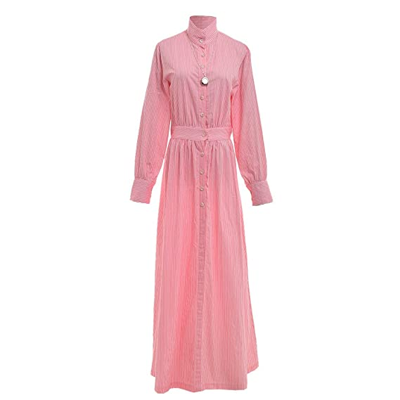 Vintage Tea Dresses, Floral Tea Dresses, Tea Length Dresses GRACEART Edwardian Pioneer Old West Settler Governess Costume Striped Cotton Dress $49.69 AT vintagedancer.com
