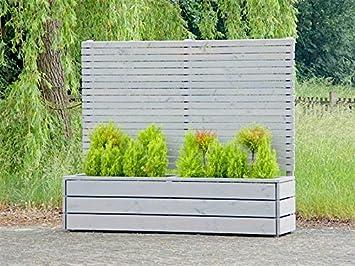 Pflanzkubel Holz Lang Mit Sichtschutz Transparent Geolt Grau