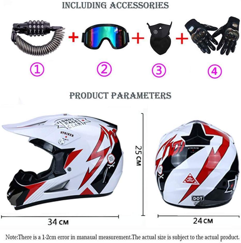 Enfants Casque de Moto Enduro Downhill Quad BMX Casque Int/égral Casque de V/élo,S Casques Motocross Moto Casque Cross Set avec Lunettes de Protection//Gants//Masque//Serrure de S/écurit/é 52~53cm