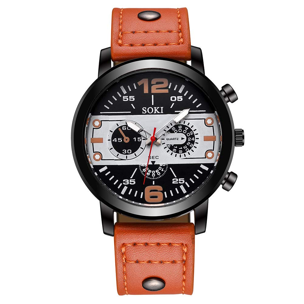 Mnyycxen Men Watches Luxury Sports Military Army Quartz Waterproof Wristwatch Calendar Date Stainless Steel Band Watch (Orange)