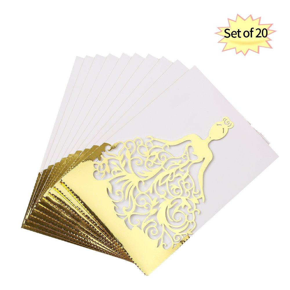Decdeal Inviti Matrimonio 20pcs/set Carte Invito a Nozze Carta Perlata Lase Cut Hollow Modello di Invito a Nozze Carte per Matrimonio Anniversario Fidanzamento