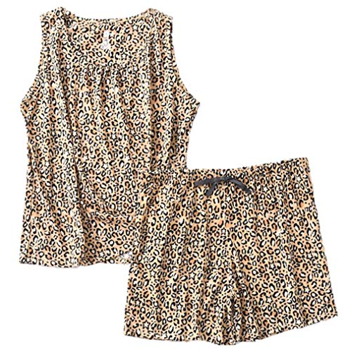 PNAEONG Women Cotton Sleepwear Short Sets Tank&Short Pajamas Sets XTSY208-Leopard-L