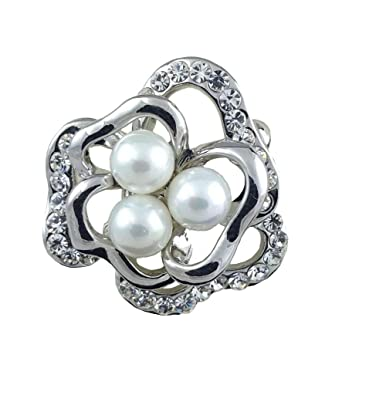 d6ee9205f Image Unavailable. Image not available for. Color: Women's Silver Floral  Brooch Pin with Swiss Crystals