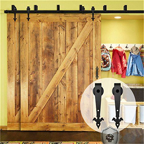 - Kirin Rustic Household Home Decor Sliding Barn Door Hardware 6 Feet Bypass Double Doors Sliding Track Closet Set (Flower Shape)