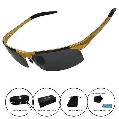 7c170724d36 Men s Polarized Sunglasses Driving Riding Fishing Unbreakable Frame Fashion  Glasses (Golden)