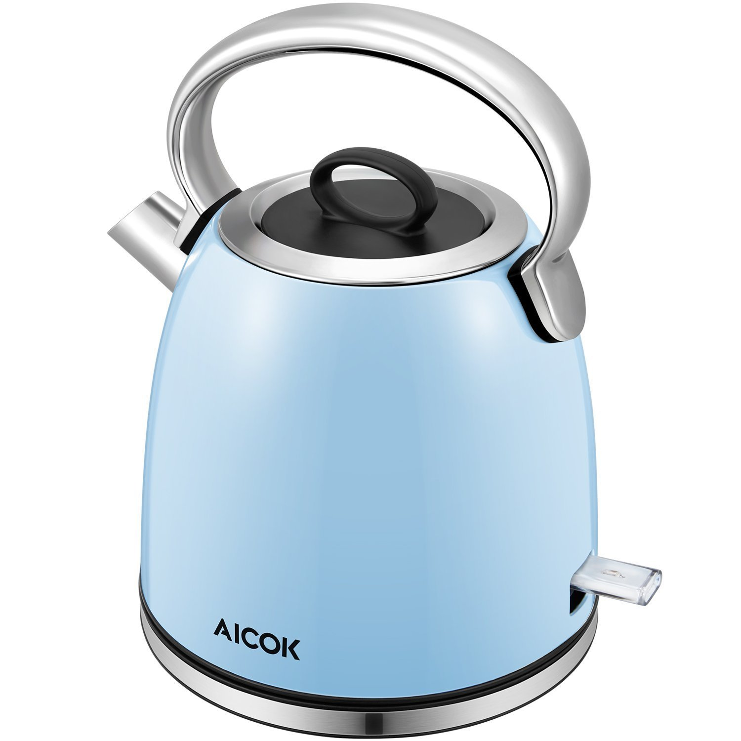 Aicok Electric Tea Kettle, 1.7-Liter Brushed Stainless Steel Kettle with Anti-oxidant Blue Coating, Retro Style with Modern Feature Water Kettle, Auto Shut Off, 1500W