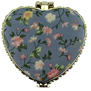 Brendacosmetic Chinese Embroidered Cloth printing makeup mirror for women,Heart shape Retro Double-sided folding Portable Compact mirror for pocket