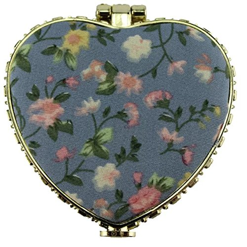 Brendacosmetic Chinese Embroidered Cloth printing makeup mirror for women,Heart shape Retro Double-sided folding Portable Compact mirror for - Face For Eyeglasses Your Shape