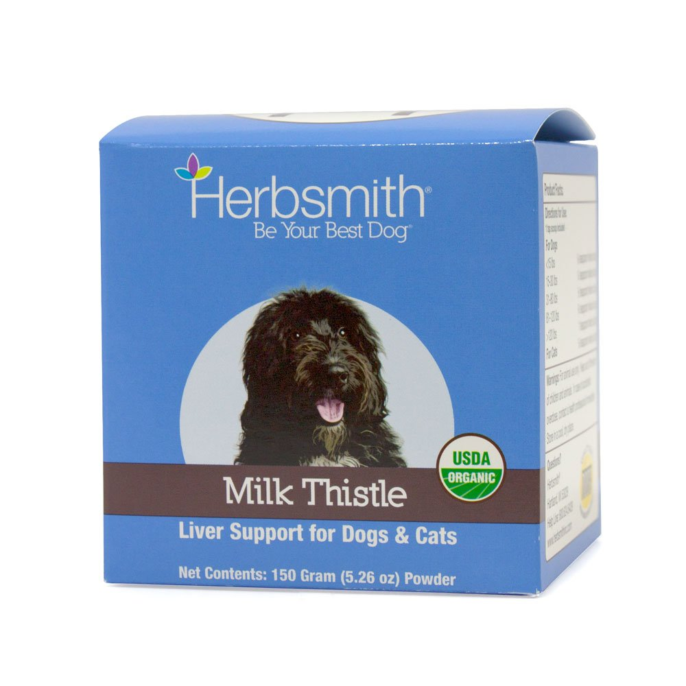 Herbsmith Organic Milk Thistle for Dogs and Cats - Liver Supplement for Dogs & Cats - Made in USA - 150g Powder by Herbsmith, Inc.