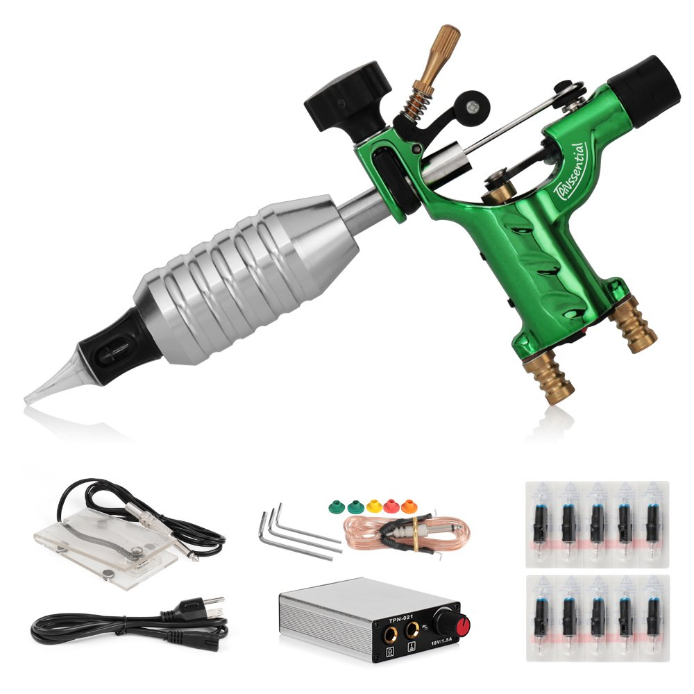 TANssential Dragonfly Rotary Tattoo Machine, Liner and Shader, Motor Gun Tattoo Kit Supplies with Needles, for Professional Tattoo Artists and Beginners, Light Weight (Green)