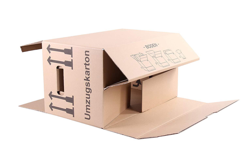 20 St/ück Umzugskartons Faltkartons Umzugskisten 2-wellig doppelter Boden Profi 600 x 330 x 340mm Farbe beige A/&G-heute
