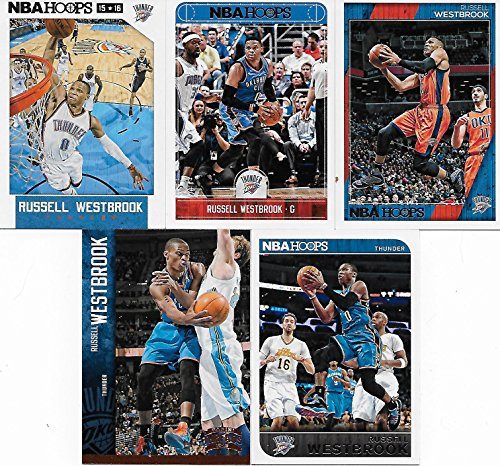Russell Westbrook 5 Card Gift Lot Including 2017, 2016, 2015 and 2014 Hoops Series Mint Cards Plus a 5th card. Nice Mix Picturing Him in His Oklahoma City Thunder White, Blue and Orange Jerseys