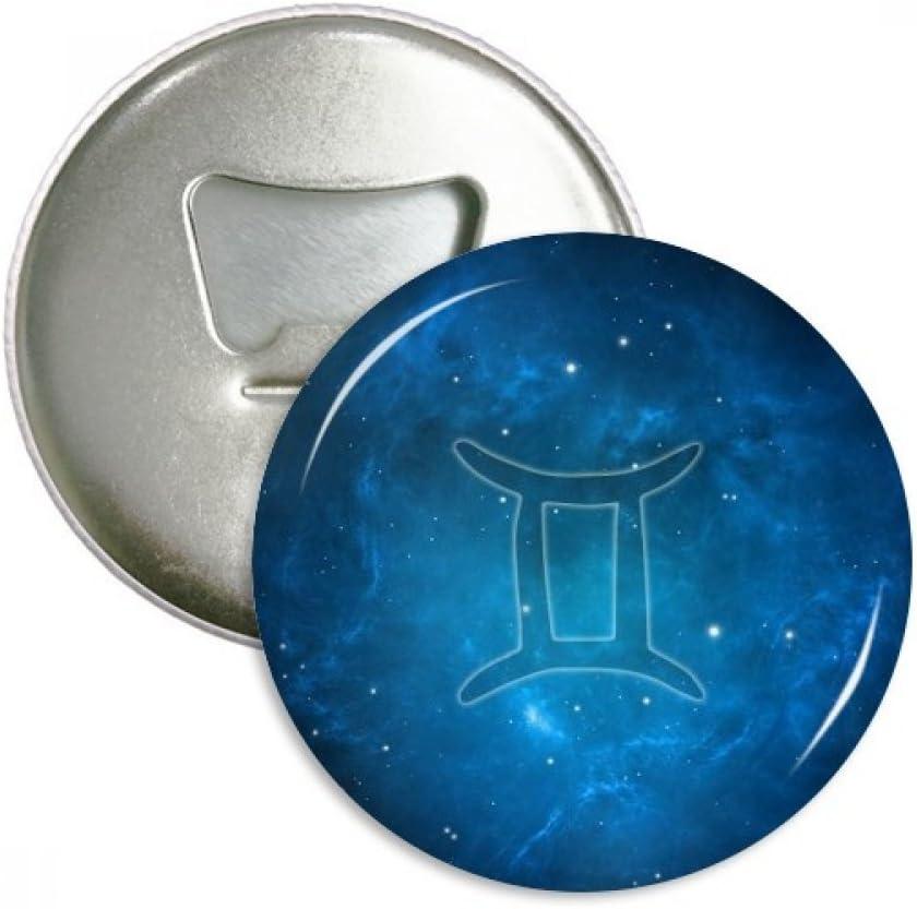 Starry Night Gemini Zodiac Constellation Bottle Opener Fridge Magnet Emblem Multifunction Badge