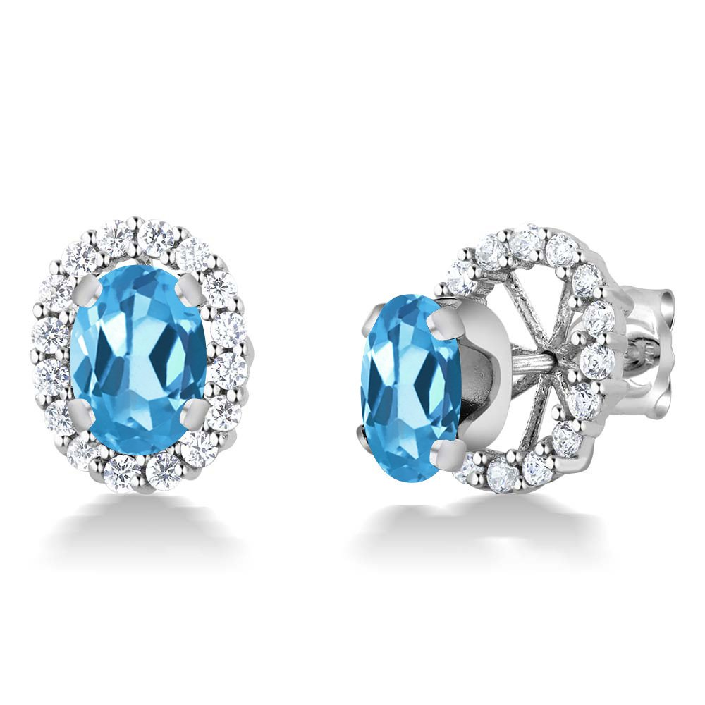 Gem Stone King 2.00 Ct Blue Topaz 925 Sterling Silver 7x5mm Oval Removable Jacket Stud Earrings