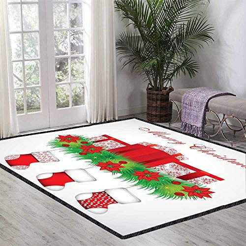 Christmas Floor Rug Stockings Hanging for Santa Mistletoe Illustration Merry Christmas for All for Various Areas 47.24 Inch x 70.86 Inch Red Emerald -