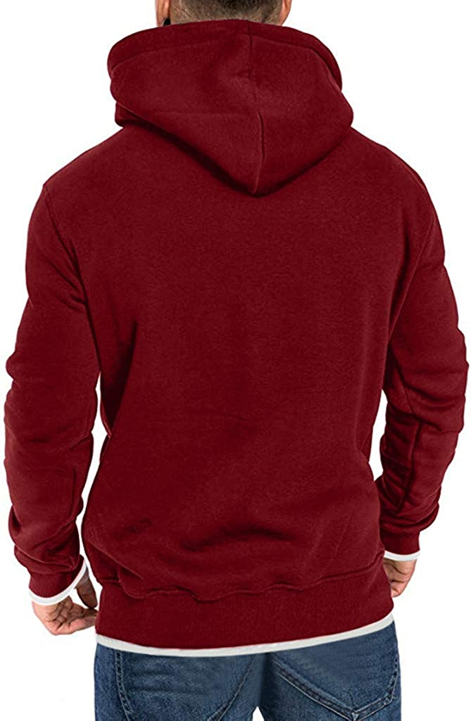 Mens Loose Simple Solid Color Hooded Pocket Long Sleeve Fake Two Sweater Jacket Simayixx Mens Winter Warm Coat