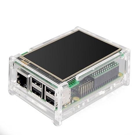 Monitor con pantalla táctil Yosoo Raspberry Pi, pantalla de 3,5 pulgadas de 480x320 de LCD, kit con carcasa transparente + disipador de calor para ...