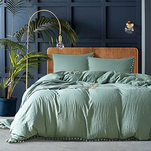 Joyful Store Solid Color Duvet Cover Set Hanging Pompoms Ball Bedding Set Pom-Fringe Design Quilt Cover with Pillow Case Shams (Olive Green, ()