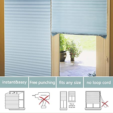 Elegant KINLO 90 X 240 Cm Blinds Pleated Thermal Insulation Store Roller Without  Drilling Without Screw Easy