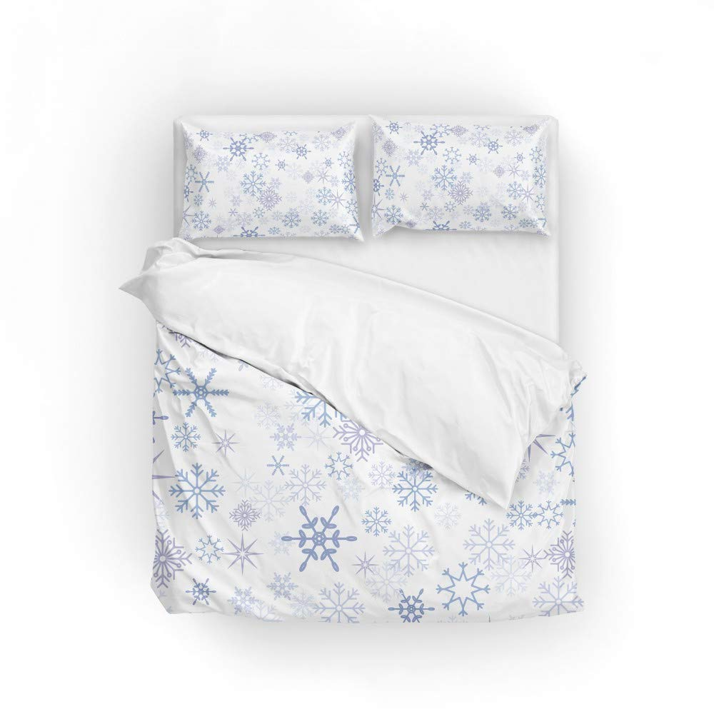 2pcs Duvet Cover Set Twin Soft Polyester Christmas Snowflakes Printed Bedding Comforter Cover with 1 Pillow Shams