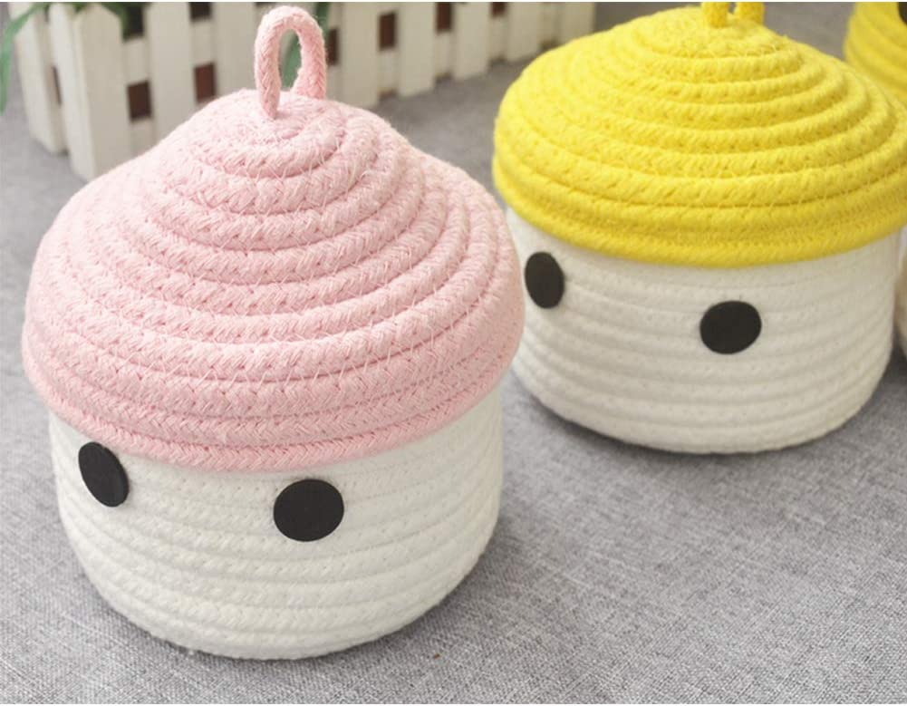 Green//Yellow Inwagui Cotton Rope Basket with Lid Soft Small Storage Box Cute Secorative Basket for Home Nursery Office Desktop Organizer