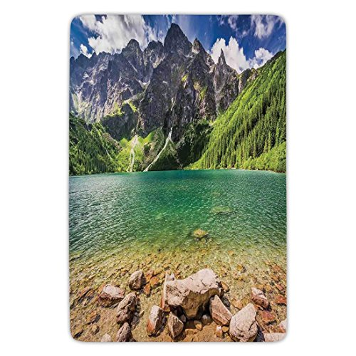 Bathroom Bath Rug Kitchen Floor Mat Carpet,Mountain,Lake Tatra and Mountains Poland Forest at Sunrise Rocky Shore,Green Turquoise Light Brown,Flannel Microfiber Non-slip Soft (Tatra Sink)