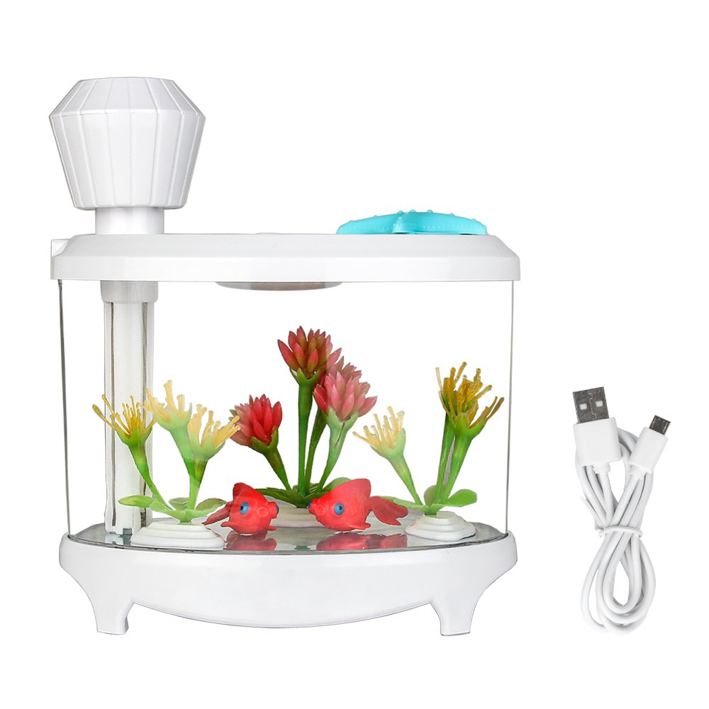 TBTeek USB Fish Tank Humidifier Ultrasonic Whisper-Quiet Operation Cool Mist Humidifier with 7 Night Lights and 8 Hours Shut-off Auto for Bedroom Babyroom Home Office Kids Baby