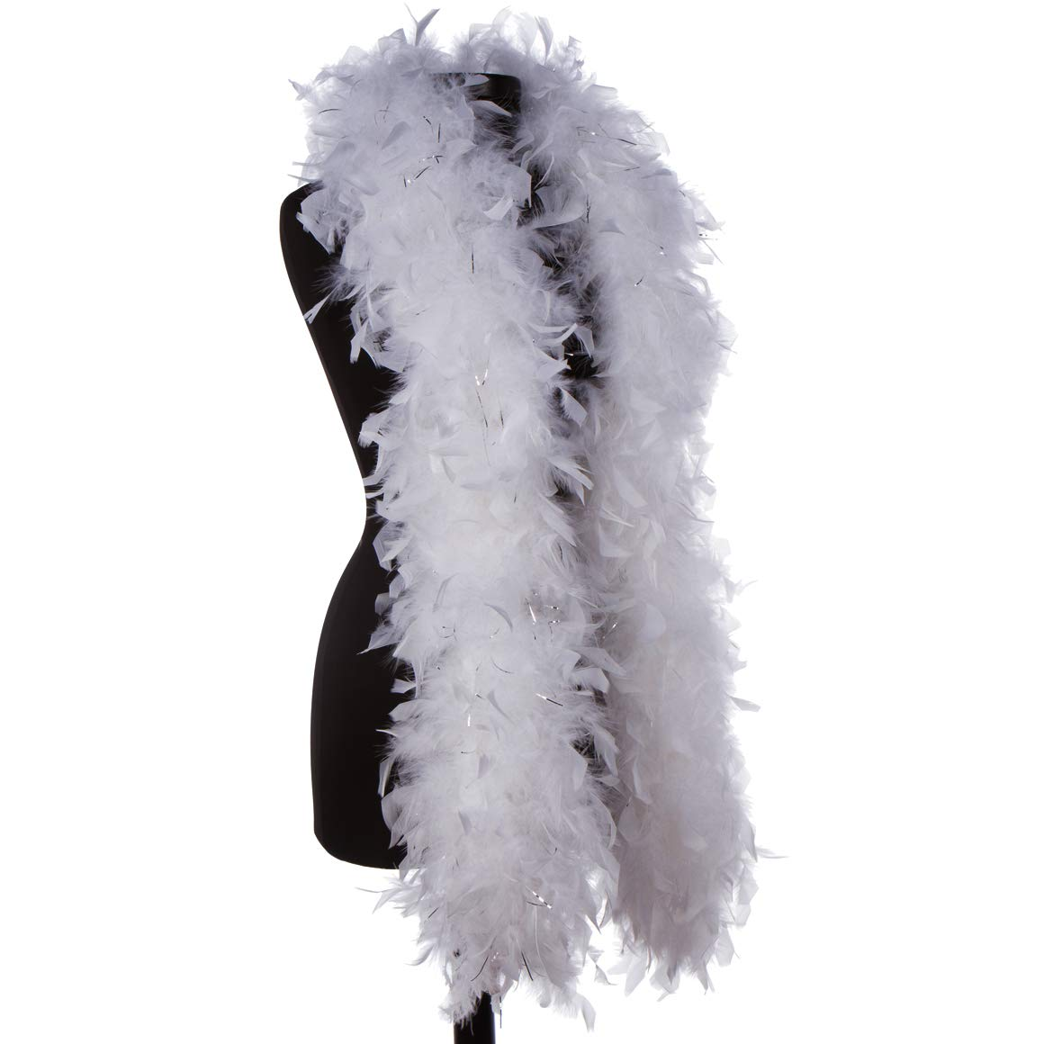 DreamAngels 65 Gram Chandelle Feather Boas with Lorex and Tipped (White with Silver Lorex)
