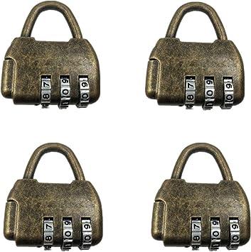 Antique Alloy Mini Padlocks with Key for Handbag Small Luggage Bronze