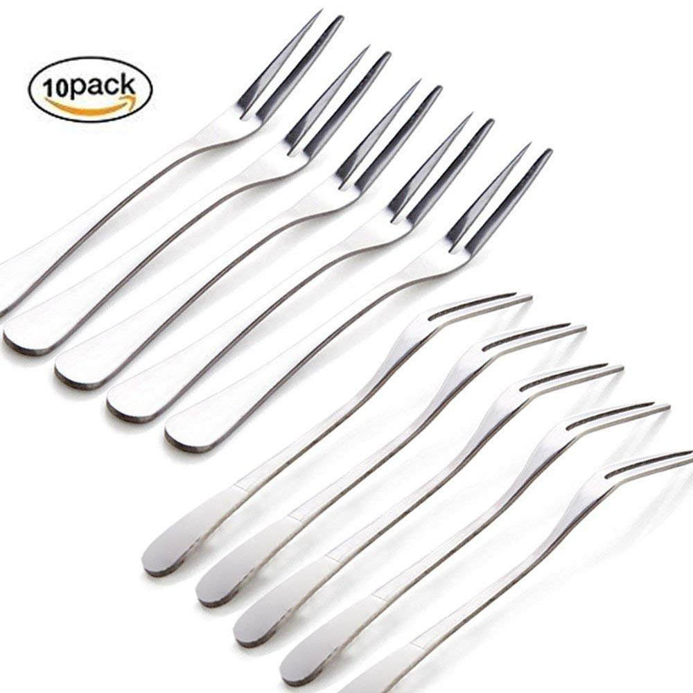 Firlar Stainless Steel Fruit Forks Flatware Set for Cake Salad Cocktail Dessert Set of 10