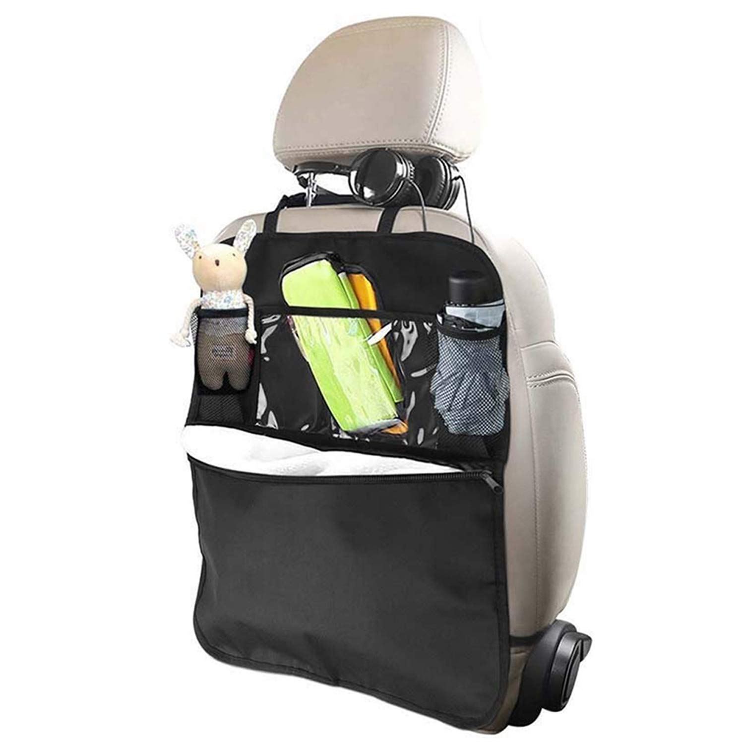 SAVORLIVING Car Back Seat Organizer Large Storage Organizer with Clear iPad Holder Cup Holder Durable Space-saving Bag for Travel Accessories Kids Toys
