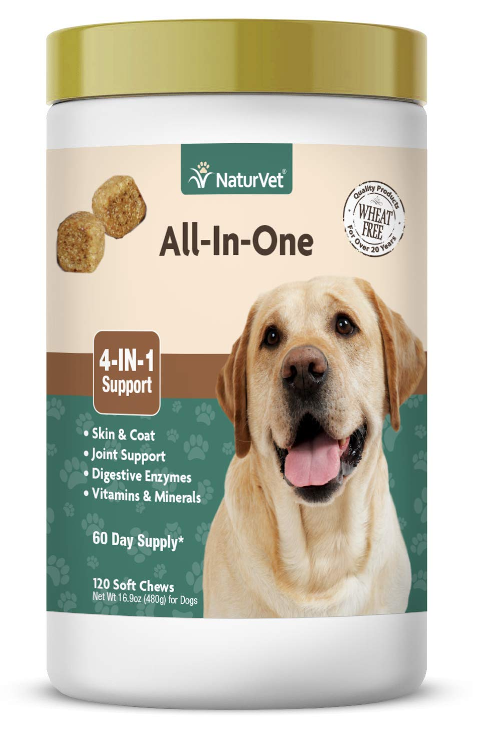 NaturVet - All-in-One Support - Helps Support Your Dog's Essential Needs & Overall Health - Digestion, Skin, Coat, Vitamins & Minerals, Joint Support - 120 Soft Chews by NaturVet