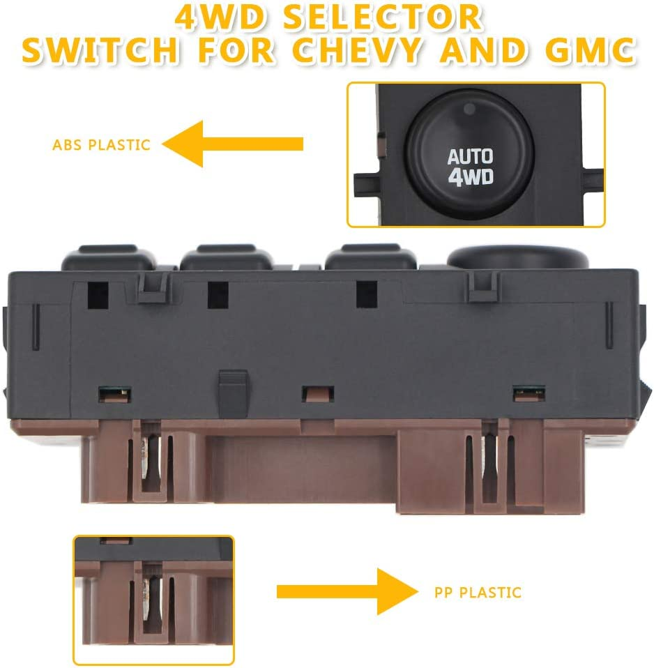 2003-2007 GMC Yukon 4wd Switch Transfer Case 4x4 Switch,Fits Cadillac Escalade,Chevy Silverado Tahoe Replaces OE# 15136039,15164520,19259313,901-072 Chevrolet Suburban Sierra Avalanche