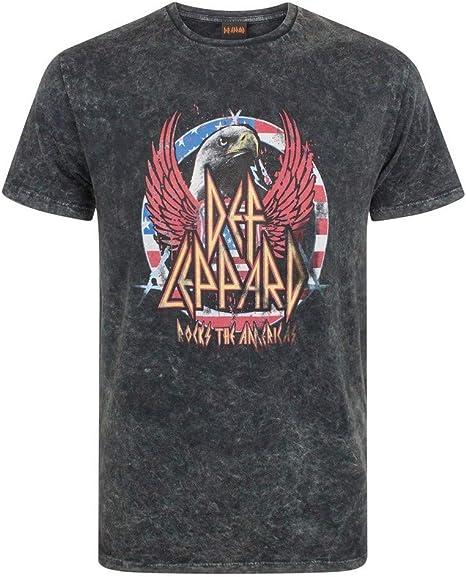 Def Leppard - Camiseta con Estilo desteñido para Hombre (XXXL) (Carbón): Amazon.es: Ropa y accesorios