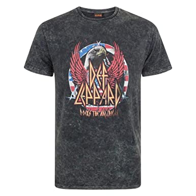 112bd799490c07 Amazon.com  Def Leppard Mens Acid Wash T-Shirt  Clothing