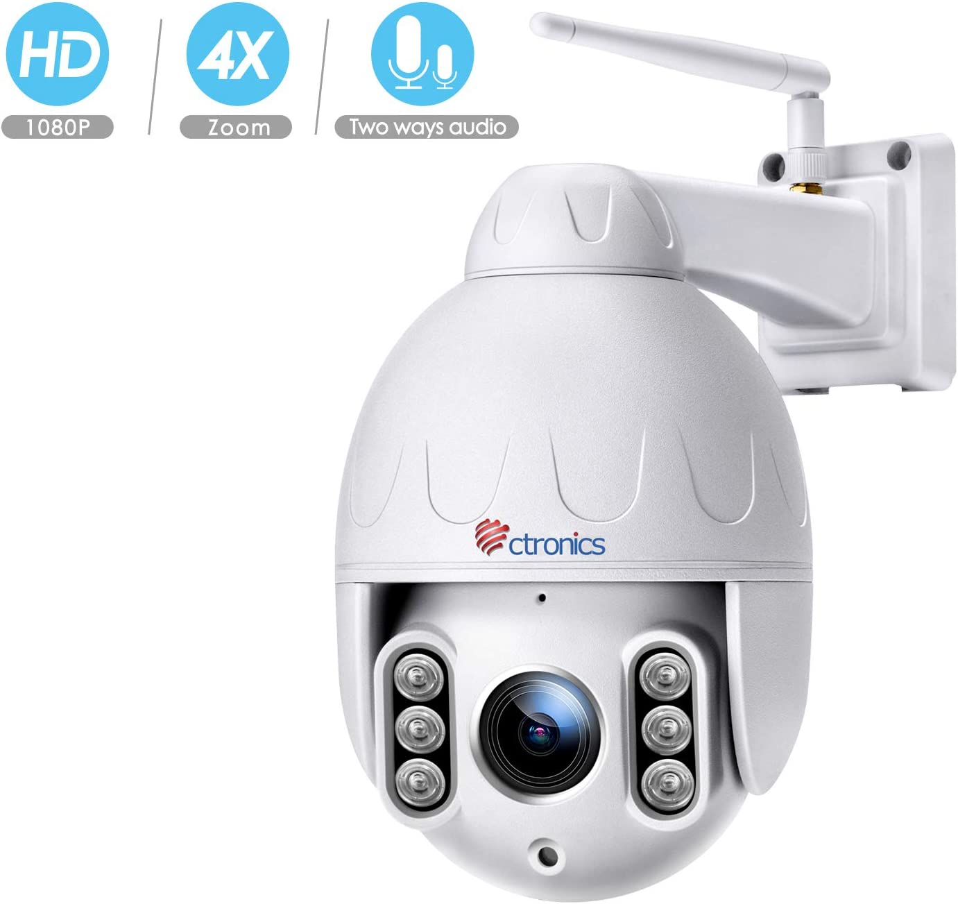 Ctronics PTZ WiFi Camera Outdoor,1080P Security IP Camera,Pan Tilt Zoom 4 X Optical Zoom Dome Camera,Motion Detection,165feet Night vision,Waterproof IP65,Micro SD card Up to 128GB not included