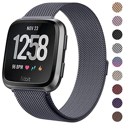 CAVN Metal Bands Compatible for Fitbit Versa Bands/Versa Lite Edition Bands for Women Men, Replacement Stainless Steel Wristband Accessories - Tarnish Finish