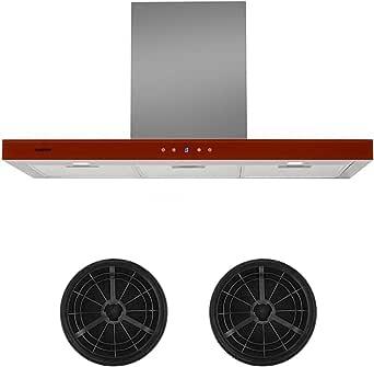Klarstein Bon Vivant Rouge - Campana extractora, Extractor de humos, 650 m³/h, Acero, Vidrio, Táctil, 90 cm, 2 filtros carbón activo, Rojo: Amazon.es: Grandes electrodomésticos