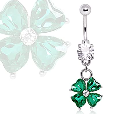 1572e88e7 Amazon.com: 316L Surgical Steel Navel Ring with Four Leaf Clover Dangle:  Jewelry